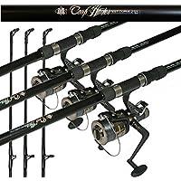 Hunter Fishing Setup 12ft 2 Piece Carp Rod 2.75lb & Baitrunner Reel + Line X 3