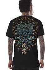 Herren Freizeit-Baumwoll-T-Shirt mit mittigem Druck auf der Vorderseite und größerer Grafik auf der Rückseite. Das Design wird jeden fesseln, der Psychofrosch starrt einen auf hypnotische Weise in Trance. Die lockere Passform dieses T-Shirts wird dur...