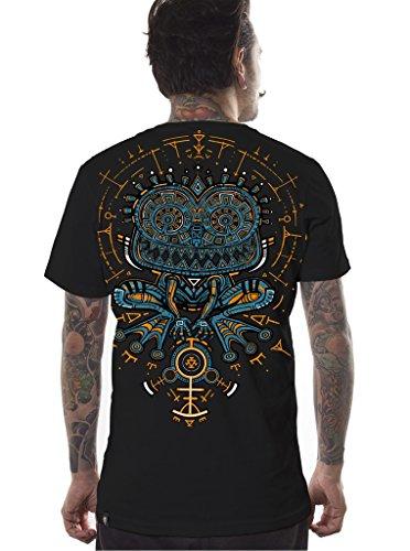 Street Habit Herren Psychodelisches T-Shirt Psycho Kröte Grafik Psi Trance Hypnotisch Druck Schwarz Oberteil L -