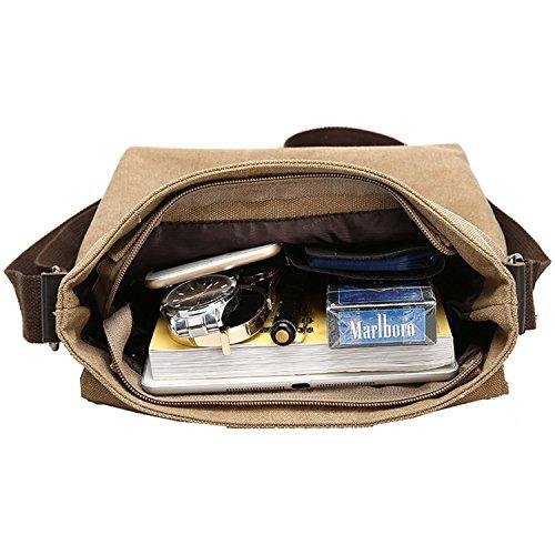 MeCool Umhängetasche Herren Canvas Schultertasche Vintage Messenger Bag für männer Reisetasche Sport Segeltuch schultaschen Strandtasche Herrentaschen Reisetaschen sporttasche weekender freitag Tasche Braun