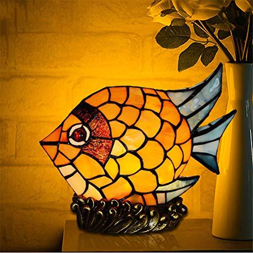 DESHOME Kreative Tiffany Nachttischlampe, europäische Retro handgemachte Lampen Glasmalerei Goldfisch dekorative Ornamente, für Schlafzimmer und Wohnzimmer,Plug(US) -
