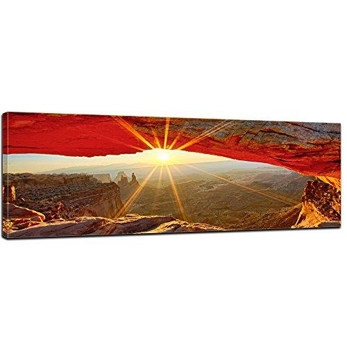 Keilrahmenbild - Sonnenaufgang im Arches-Nationalpark - Utah - Bild auf Leinwand - 160x50 cm - Leinwandbilder - Landschaften - Amerika - USA - Colorado-Plateaus - Steinbogen