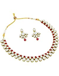 Homies International Earring Drop Kundan Necklace Set With Red Pearls For Women. Color: Red