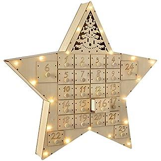 WeRChristmas Calendario de adviento de Madera en Forma de Estrella con Luces Decoración de Navidad, 43cm, Color Blanco