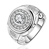 joyliveCY-moda 925 de plata de ley ovillo de joyer¨ªa anillo redondo de la Alianza zircon noble...