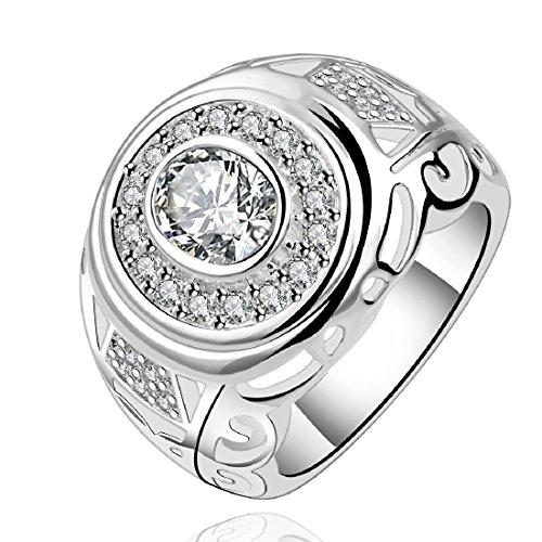 joyliveCY-moda 925 de plata de ley ovillo de joyer¨ªa anillo redondo de la Alianza zircon noble playback tama?o 7