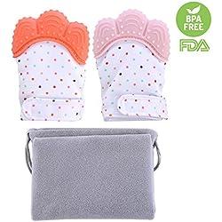 Foxom 2 Pcs Bambino Guanto di Dentizione Soothing Sollievo dal Dolore Protegge Bambino Mani in Chewing (3-18 mesi), Arancione + Rosa
