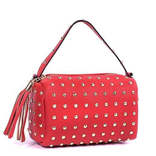 Meoaeo Mini Borsa Catena Rivetto Pillow Pack Borsa A Tracolla Portatile Marrone Grande Rosso
