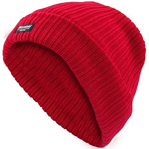 LADIES THINSULATE BEANIE HAT FLEECE LINED WINTER SKI RIB KNITTED CAP 40 GRAM 3 M (6 DIFFERENT COLOURES) (RED) by EXCEPTIONAL VALUE LIMITED (Cap Rib)