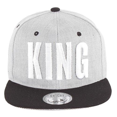 *Johnny Chicos Snapback KING & QUEEN Verschiedene Modelle Grau Schwarz Damen Herren Top, Größe:One Size;Farbe:KING Grey White*