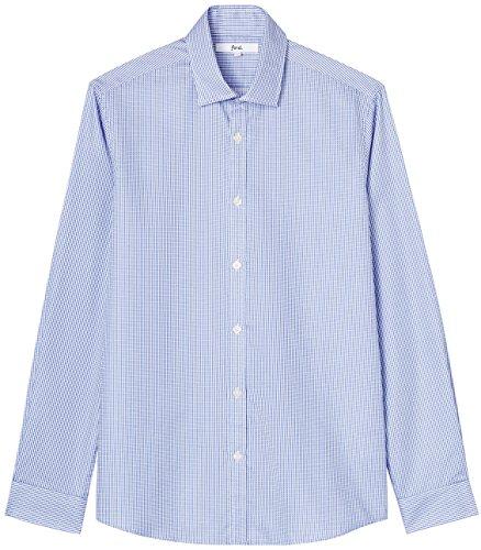 FIND Herren Schmal Geschnittenes Hemd mit Feiner Struktur Blau (Blue)