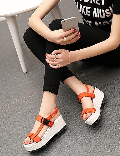LFNLYX Scarpe Donna-Sandali-Tempo libero / Formale / Casual-Zeppe / Plateau / Alla schiava-Zeppa-Di corda / Finta pelle-Giallo / Rosa / Arancione Orange