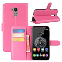 Oukitel U15 Pro Case, HualuBro Premium PU Leather Wallet Flip Phone Protective Case Cover with Card Slots for Oukitel U15 Pro Smartphone (Rose)