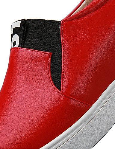 ZQ Scarpe Donna - Ballerine / Mocassini - Ufficio e lavoro / Formale / Casual - Punta arrotondata - Piatto - Finta pelle - Rosso / Bianco , red-us8 / eu39 / uk6 / cn39 , red-us8 / eu39 / uk6 / cn39 red-us5.5 / eu36 / uk3.5 / cn35
