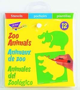 Zoo animaux pochoirs–12Designs par paquet