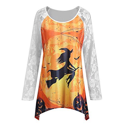 GOKOMO Hoodie Langarm Pullover Mantel Tops, Frauen-Halloween-Spitze-runder Ansatz gedruckte Kürbis-unregelmäßige Hemd-Bluse -