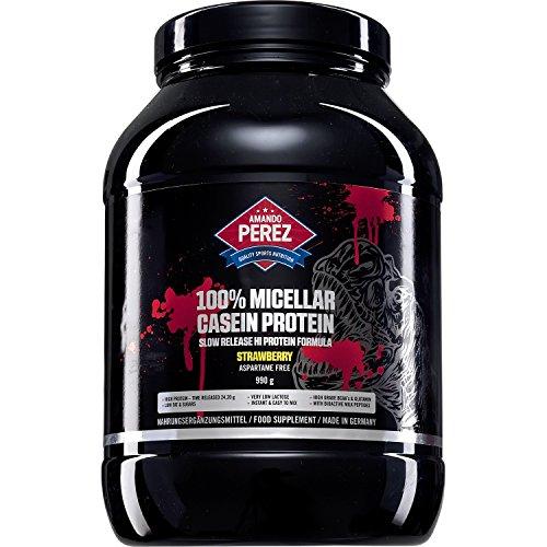 100% Micellar Casein Protein 990 g - mikrofiltriertes - zeitgesteuert resorbierbares Eiweiß - Zeitverzögerte Proteinversorgung der Muskelzellen - Erdbeer