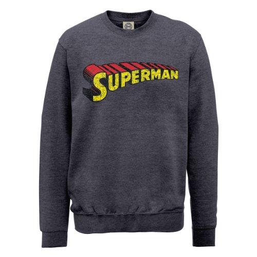 DC Comics Herren, Sweatshirt, DC0000726 Official Superman Telescopic Logo Crackle grigio (Steel Grey)