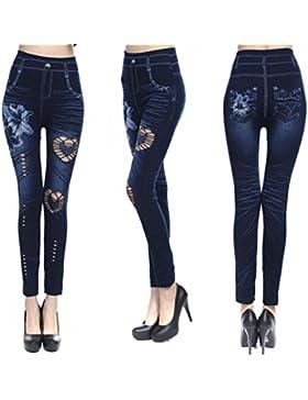 Pantalones Mujer 🎀 LuckyGirls Verano Vaqueros Rotos Elasticos Heuco de Floral Cintura Alta Casual Moda Pantalón...