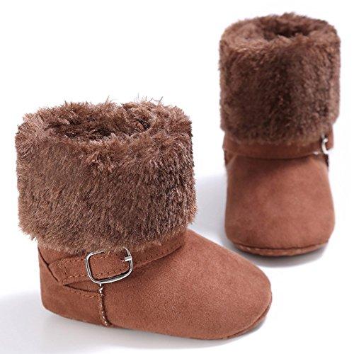 Cutelove Bambini ragazza confortevoli facile sette colori desorbimento per proteggere le scarpe scarpe baby baby prima direzione escursionisti più velluto stivali Hodan scarpe calde PU piede mat Marrone
