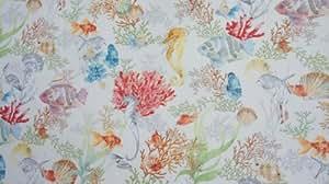 Poissons et coraux Designers en tissu imprimé Motif récif de corail tissu en coton vendu au mètre