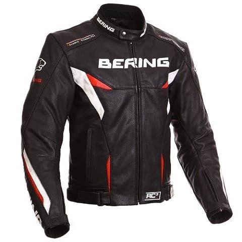 Bering - Blouson moto - Bering FIZIO CUIR Noir/Rouge - M