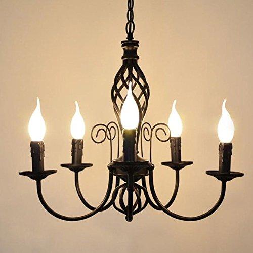 Europäischen Eisen Kerze Wohnzimmer Kronleuchter Vintage Esszimmer Pendelleuchte einfach Study Room Pendelleuchte Europäisch schwarz