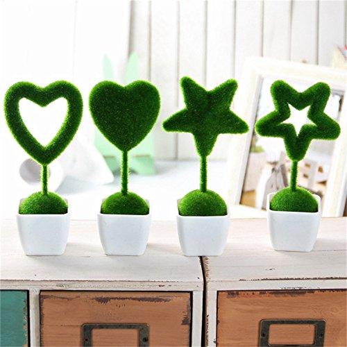 Doolland creative prato artificiale decorativo finta erba verde Greenery simulazione decorazione materiale in fibra di nylon con vaso in plastica per interni ed esterni appeso ornamenti decorazione di nozze da balcone, Green, Shape