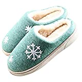 JACKSHIBO Damen Herren Plüsch Baumwolle Pantoffeln Weiche Leicht Wärme Hausschuhe Rutschfeste Slippers Für Unisex, Grün, EU 40/41=CN 42/43