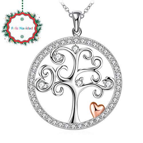 J.Rosée Colgante Mujer, Collar Plata de Ley 925 Brillante Circonita Árbol de la Vida Corazón Rosa Cadena 45cm-50cm con Hermosa Caja Regalos Regalos Navidad