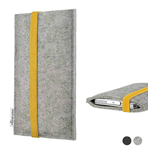flat.design Handyhülle Coimbra für Huawei P20 Pro Single-SIM Faire Filz Schutz Tasche Case hellgrau gelb