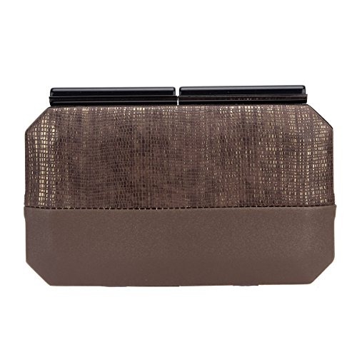 Bonjanvye Snake Pattern Stitching Clutch Purses for Women Evening Bags and Clutches Brown