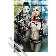 Póster + Soporte: Escuadrón Suicida Póster (91x61 cm) Joker Y Harley Quinn Y 1 Lote De 2 Varillas Transparentes 1art1®