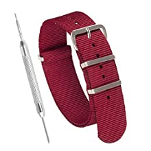 Nylon NATO Watch Strap by Sniper Bay® Straps | Military Style Divers Bands | 18mm 20mm 22mm 24 mm (22mm, Red)