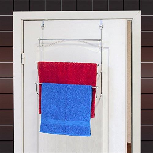 ArtMoon Above über Tür 3-Tier Handtuchhalter mit 2 Haken Stahl verchromt 45X10.5X69H cm -
