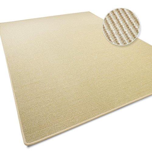 Sisal Teppich / Läufer in zahlreichen Größen | Naturfaser | Qualitätsprodukt aus Deutschland | kombinierbar mit Stufenmatten | Ivory / Creme (50x50 cm)