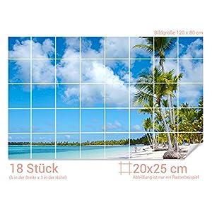 GRAZDesign Fliesensticker Bad Strand - Badfliesen überkleben Palmen - Fliesentattoo Paradies - Fliesenaufkleber Urlaub/Fliesenmaß: 20x25cm (BxH) / 761005_20x25_80