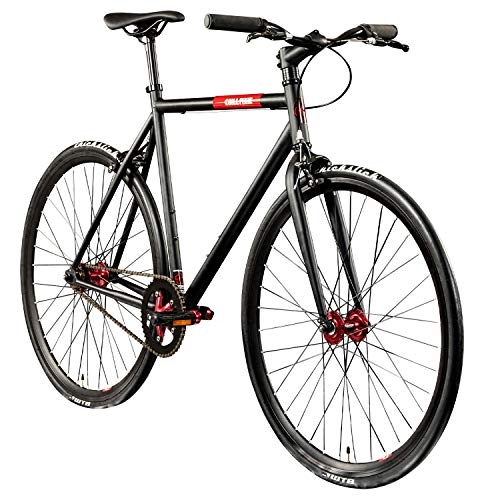 "Chill Singlespeed 700c Fixie Bike Retro Fahrrad Fitnessbike Fixie 28\"" Rennrad (schwarz/rot, 59 cm)"