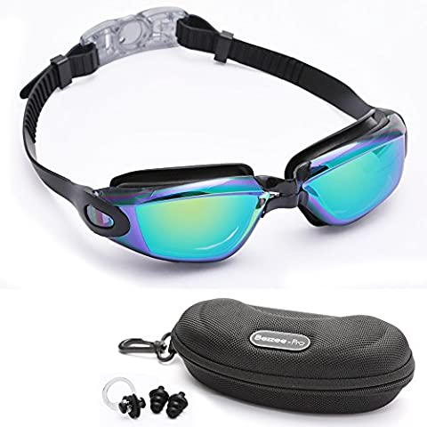 Adult Swim goggles Black by Bezzee-Pro - Anti-Fog Coated Color Mirrored Lens with Silicone eye Cups and Nose Bridge, Leak Proof, Best Pool Glass for Swimming, With Quality Goggle Case, Nose Clip & Ear Plug