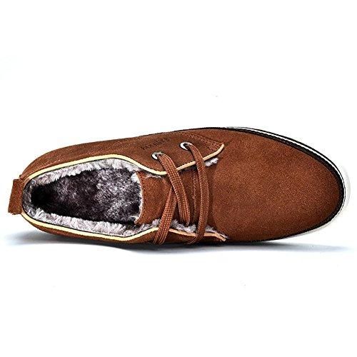 Chaussures à Lacets Homme en Suede Oxfords Multisports Outdoor Brun Clair Fourrure