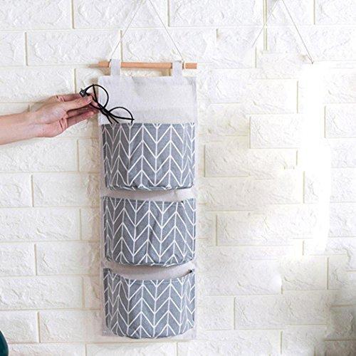 MINGZE Leinen hängende Aufbewahrungstasche, an der Wand befestigte Aufbewahrungstasche mit 3 Taschen, Zum Aufhängen über der Tür Aufbewahrungstasche, Wand-Kleiderschrank Organizer (Graue Streifen) (Kleiderschrank Aufhängen Taschen Von)