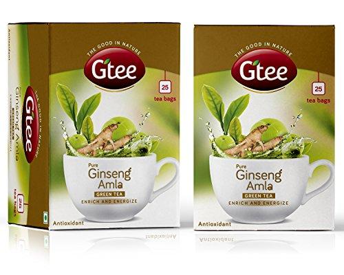 GTEE Green Tea Bags - Ginseng, 25 Tea Bags (Pack of 2)