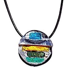 """Collezione CRISTALICA """"Fusing Gem"""", Ciondolo in vetro soffiato, 3.5 cm, multicolore, stile moderno - unico (Art Glass powered by CRISTALICA)"""