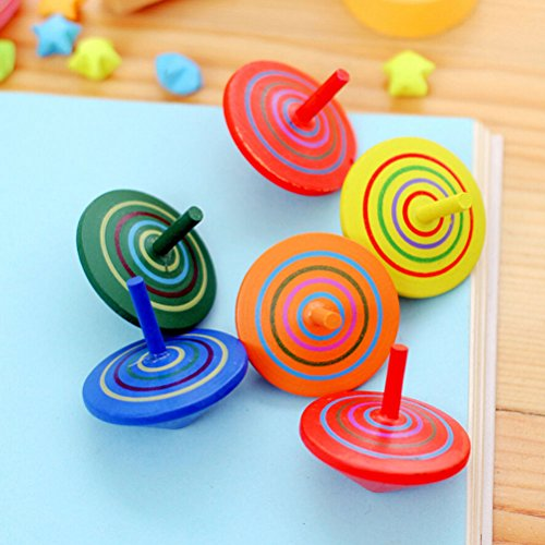 AST Works 2pcs Random Classic Wooden gyro Spinning Top Toys for Children Educational Toys