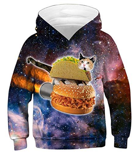 Idgreatim Juniors Hoodie 3D Gedruckter Kapuzenpullover Teen Jungen Pullover Hoodies Sweatshirts mit Tasche L