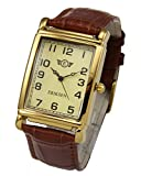 Eriksen Mens Rectangular Dress Watch Leather Strap MCG