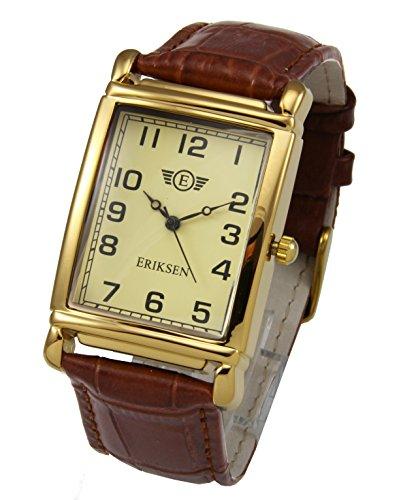 Eriksen Mens Rectangular Dress Watch Leather Strap MCG