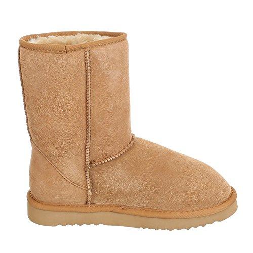 Ital-Design, infrarouge 500, Boots chaud doublée stiefelettten Marron - Camel 2