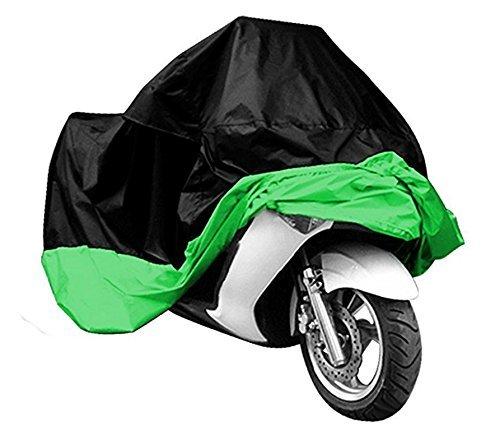 Copertura impermeabile a prova di polvere Sun indoor outdoor da moto per Harley Davison, Honda, Suzuki, Yamaha, Kawazaki etc, borsa pacchetto include, Black/Green,