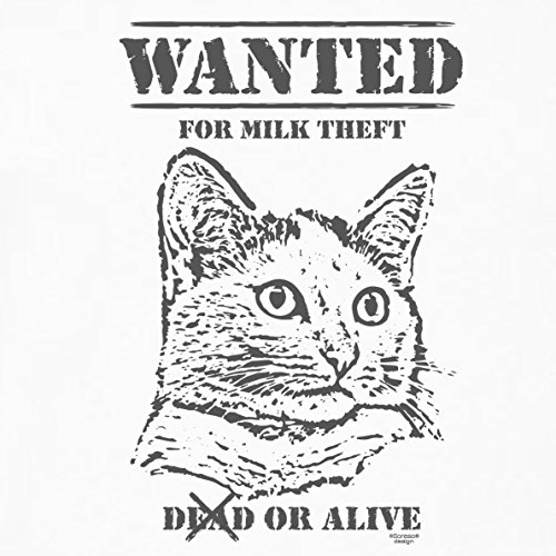 Geschenk für Katzenfreunde :-: Motiv T-Shirt Katzen :-: Wanted :-: Geschenkidee für Tier-Freunde zum Geburtstag Vatertag Weihnachten :-: Farbe: weiss Weiß